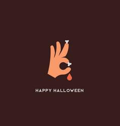 Halloween bones sign trick or treat ok vector