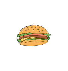 hamburger or cheeseburger icon in sketch style vector image