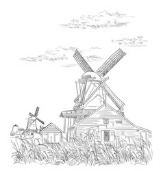 hand drawing holland 3 vector image