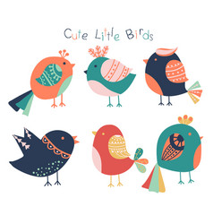 hand drawn cute birds collection isolated on vector image