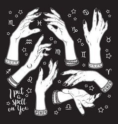 Hand drawn set of female witches hands vector