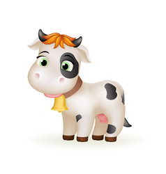 Happy farm little cartoon cute calf white cow vector