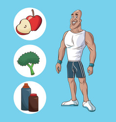 Healthy man athletic muscular food nutrition diet vector