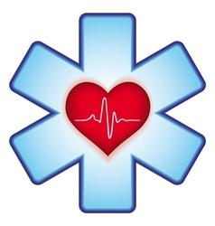 Heart on cross vector image vector image