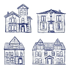 Houses doodles vector image