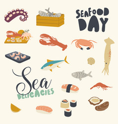icons set seafood themed background with asian vector image