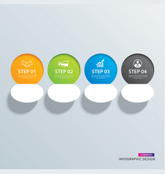 infographics circle paper with 4 data horizontal vector image