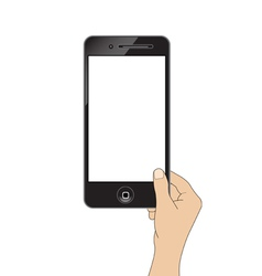 Isolation man hand holding the phone tablet touch vector