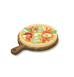 isometric pizza with fish shrimp onion paprika vector image
