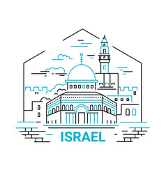 Israel - modern line travel vector