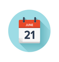 June 21 flat daily calendar icon date and vector