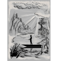 Landscape with fisherman vector