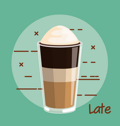 latte coffee with whipped cream glass cup vector image