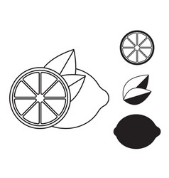 lemon icon in line design simple style vector image