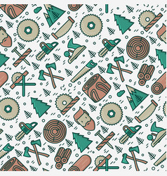 Logging and lumberjack with beard seamless pattern vector