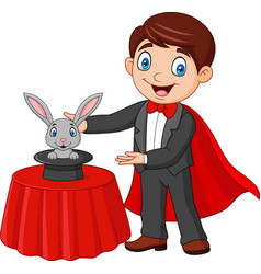 Magician performing his trick rabbit appearing vector