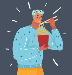 man eat noodle vector image