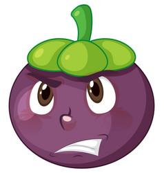 Mangosteen cartoon character with facial vector