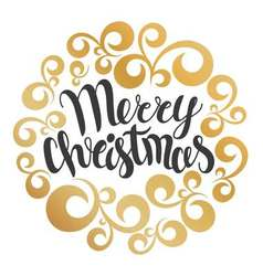 merry christmas gold ornament vector image