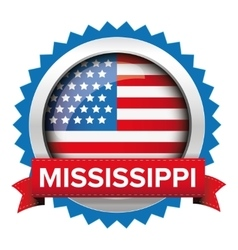 Mississippi and USA flag badge vector image
