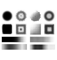 Monochrome halftone effects design elements set vector