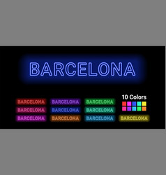 Neon name of barcelona city vector