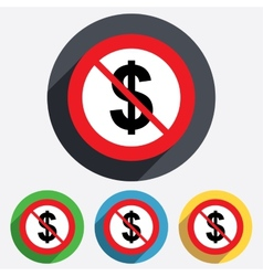 No Dollar sign icon USD currency symbol vector image
