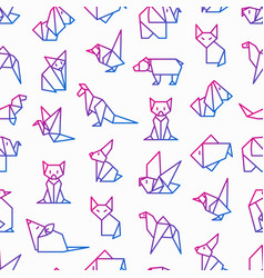origami seamless pattern with thin line icons vector image