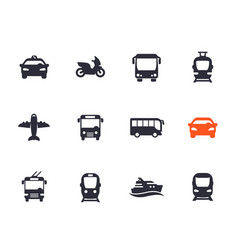 passenger transport icons set vector image