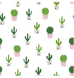Pattern with colorful cactus vector