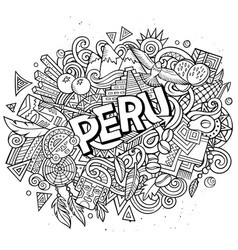 Peru hand drawn cartoon doodles vector