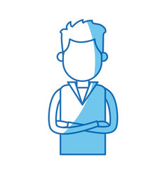 portrait young man with cross arms blue line vector image