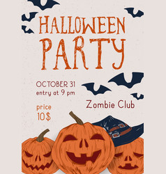 poster halloween party with scary pumpkins vector image