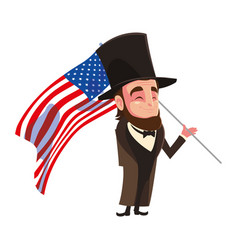 President abraham lincoln with flag usa on white vector
