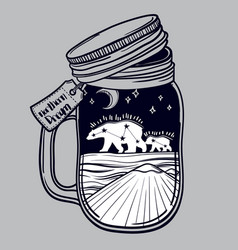 Printing with a beautiful jar and northern bear vector