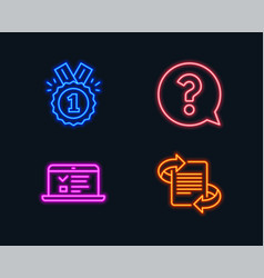 Question mark approved and web lectures icons vector