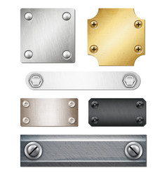 realistic metal plates with fasteners vector image