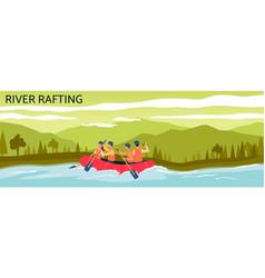 River rafting banner - cartoon people navigating vector