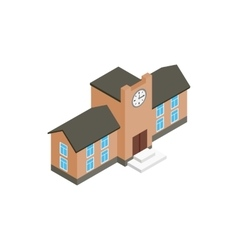 School building icon isometric 3d style vector image