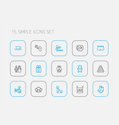 set of 15 editable family outline icons includes vector image