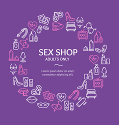 Sex shop round design template line icon concept vector