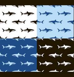 Sharks seamless pattern black white and blue vector
