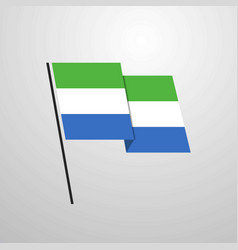 sierra leone waving flag design background vector image