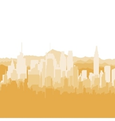 Silhouette city and mountains on white background vector image
