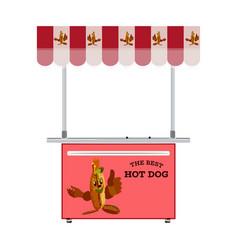 Street hot dog stand flat vector