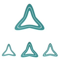 Teal line triangle logo design set vector