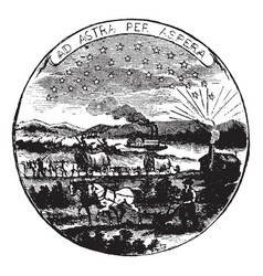 The official seal of the us state of kansas in vector