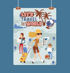 tourist traveling people traveler man woman vector image