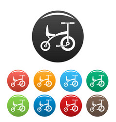 tricycle icons set color vector image