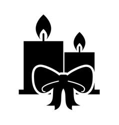 two candle burning christmas ribbon celebration vector image